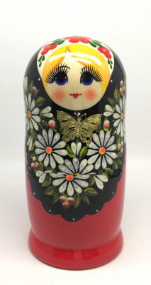 190 mm Khohloma Hand Painted Wooden Matryoshka Doll 5pcs (by Alena Crafts)