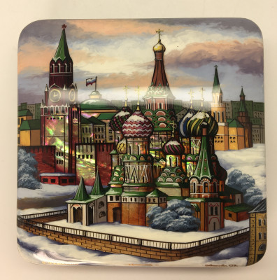 120 x 120 mm Moscow Winter hand painted lacquered box from Fedoscino (by Mihail Studio)
