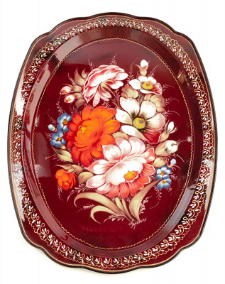 300x395 mm Zhostovo Patterns hand painted and lacquered by Golovina Metal Forged Tray (by Lada Crafts)