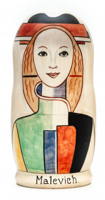 180 mm Girl with a Comb in her Hair by Malevich hand painted on wooden Matryoshka doll 5 pcs (by Alexander Famous Paintings Studio)