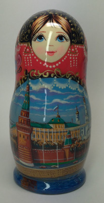 120 mm Moscow Kremlin hand painted on wooden Matryoshka doll 5 pcs (by A Studio)