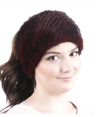 Burgundy Knitted Mink Fur Headband