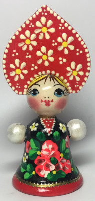 85 mm Russian Girl in Kokoshnik hand painted Wooden Doll (by Maya)