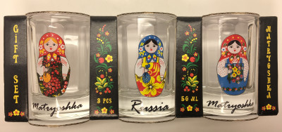 50 ml Russian Matryoshka Decal Faceted Shot Glass set of 3 pcs (by AKM Gifts)