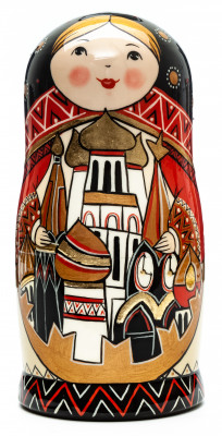 180 mm Moscow Snt Basil Cathedral hand painted by Lentuloff on wooden Matryoshka doll 5 pcs (by A Studio)