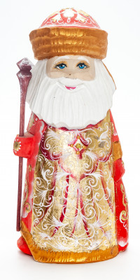 200 mm Santa Claus with a Bag and a Magic Staff handpainted Wooden Carved Statue (by Igor Carved Wooden Figures Studio)