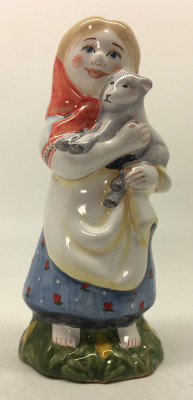 Herder Russian Girl hand painted Ceramic Statue (by Maiolica)