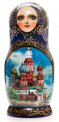 200 mm Moscow Snt Basil Cathedral hand painted wooden Matryoshka doll 5 pcs (by Trifonov Studio)