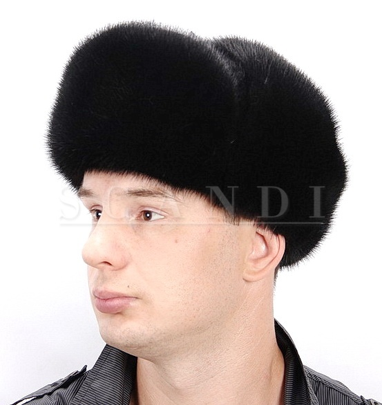 Black Mink Fur Ushanka Hat with Ear flaps and Mink fur top (by Scandi Furs)