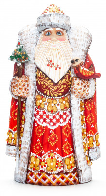 230 mm Santa with a Magic Staff and a Bird Carved Wood Hand Painted Collectible Figurine (by Natalia Nikitina Workshop)
