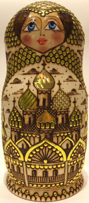 250 mm Moscow Cathedrlas hand burnt and painted Wooden Matryoshka doll 10 pcs (by Olga Burnt Dolls)