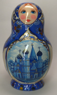 160 mm Moscow Cathedrals hand painted wooden round Matryoshka doll 10 pcs (by A Studio)