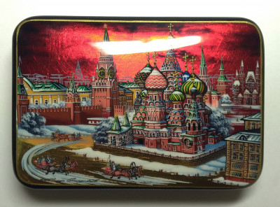 130x90mm Moscow Snt Basil Cathedral and Red Square  hand painted lacquered jewelery box (by Tatiana Shkatulka Crafts)