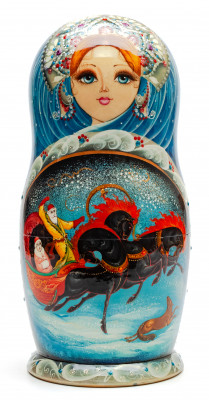220 mm Russian Troika hand painted Wooden Matryoshka doll 7 pcs (by Natalia Crafts)