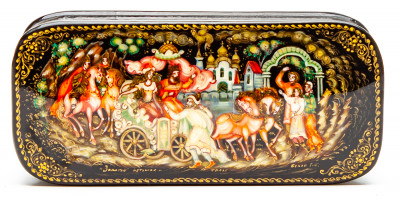 100x50mm The Tale of the Golden Cockerel hand painted lacquered box from Palekh (by Pavel Studio)