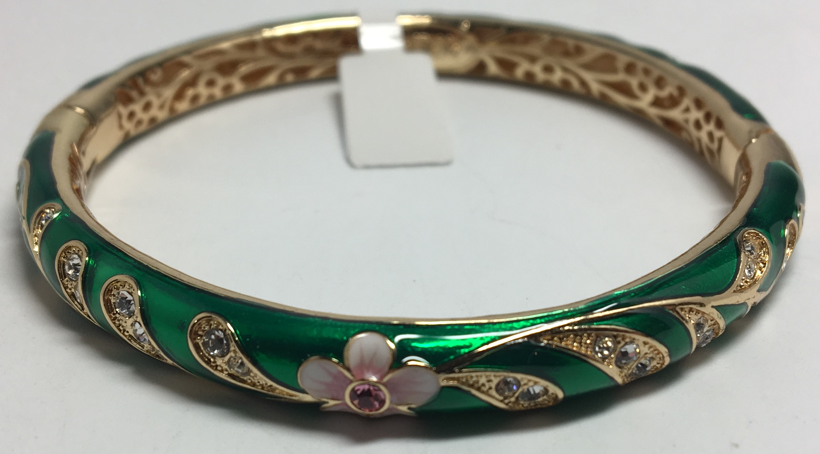 Pink Flower Green Bracelet with Enamel (by AKM Gifts)