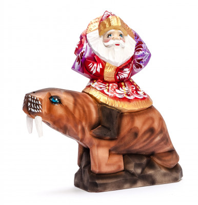 180 mm Santa with a Bag riding a Walrus Carved Wood Hand Painted Collectible Figurine (by Igor Carved Wooden Figures Studio)