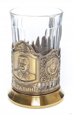 Stalin Pure Brass Tea Glass Holder with Faceted Glass (by Kolchugino)