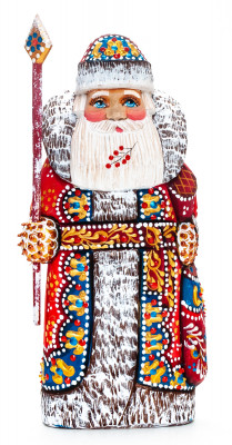 170 mm Santa with a Magic Staff and a Bag handpainted Wooden Carved Statue (by Natalia Nikitina Workshop)