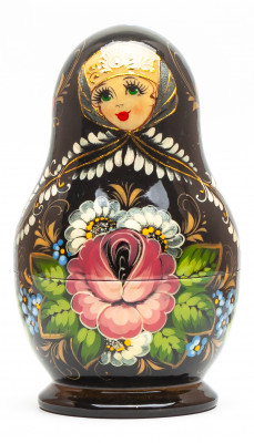 120 mm Black Flowers hand painted on Wooden Matryoshka doll 5 pcs (by Valeria Crafts)