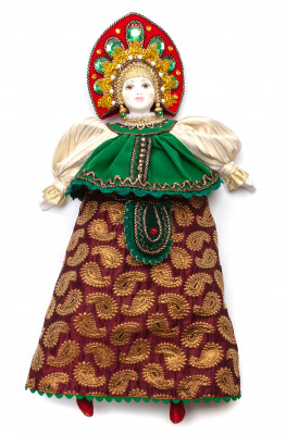 The Girl in a Summer Dress and Kokoshnik hand-sewn Porcelain Doll - 16 Inches