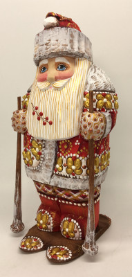 200 mm Santa Claus Skiing hand carved and painted wooden statue (by Natalia Workshop)