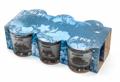 50 ml Moscow Views Grey and White Decal Shot Glass set of 6 pcs (by AKM Gifts)