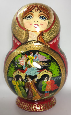 220 mm Sleeping Beauty Hand painted Matryoshka doll 15 pcs inside round shape (by Valery Studio)