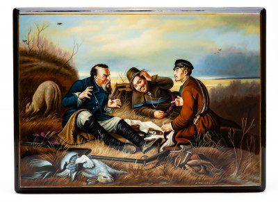 260x190 mm The Hunters At Rest Hand Painted Jewellery Box (by Alexander G Studio)