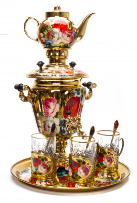 Zhostovo Flowers Electric Gold Samovar Kettle with 4 hand painted Brass Tea Glass Holders, Ceramic Teapot and metal Tray