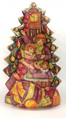 Children Hand Painted Carved Wood Christams Tree with Ornaments (by Vladislav Toys)