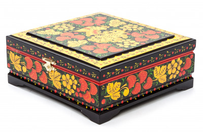 Khokhloma Painting Jewellery Wooden Box 170x170 mm