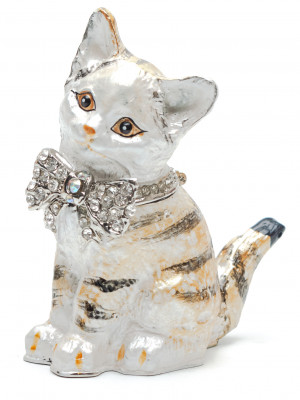80 mm Cat with a Bow Tie Jewellery Box