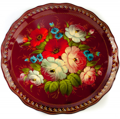 d 420 mm Zhostovo Patterns hand painted and lacquered by Lopatina Metal Forged Tray (by Lada Crafts)