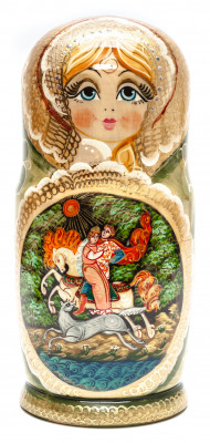 270 mm Ivan Tsarevitch and The Grey Wolf handpainted Wooden Matryoshka Doll 10 pcs (by Valery Crafts)