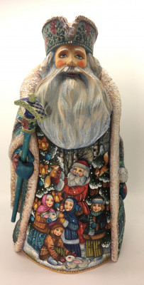 28cm Santa Claus Hand Carved Wooden Statue with painted picture Santa Claus playing with children (by Sergey Christmas Workshop)