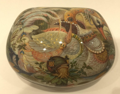 80x55 mm The Swan Princess Hand Painted Jewellery Papie-mache Box (by Pavel Studio)