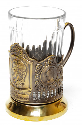 Pushkin Pure Brass Tea Glass Holder with Faceted Glass (by Kolchugino)