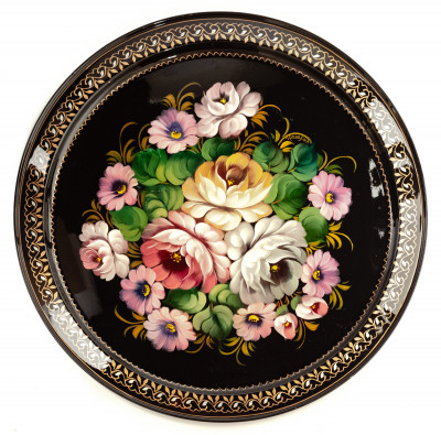 d 385 mm Zhostovo Patterns hand painted and lacquered by Trescheva Metal Forged Tray (by Lada Crafts)