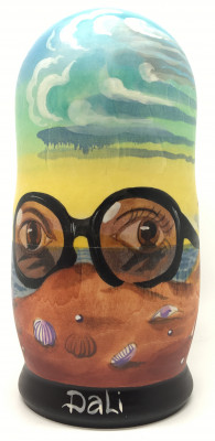 200 mm The Glasses by Salvador Dali hand painted on wooden Matryoshka doll 5 pcs (By Alexander Famous paintings Studio)