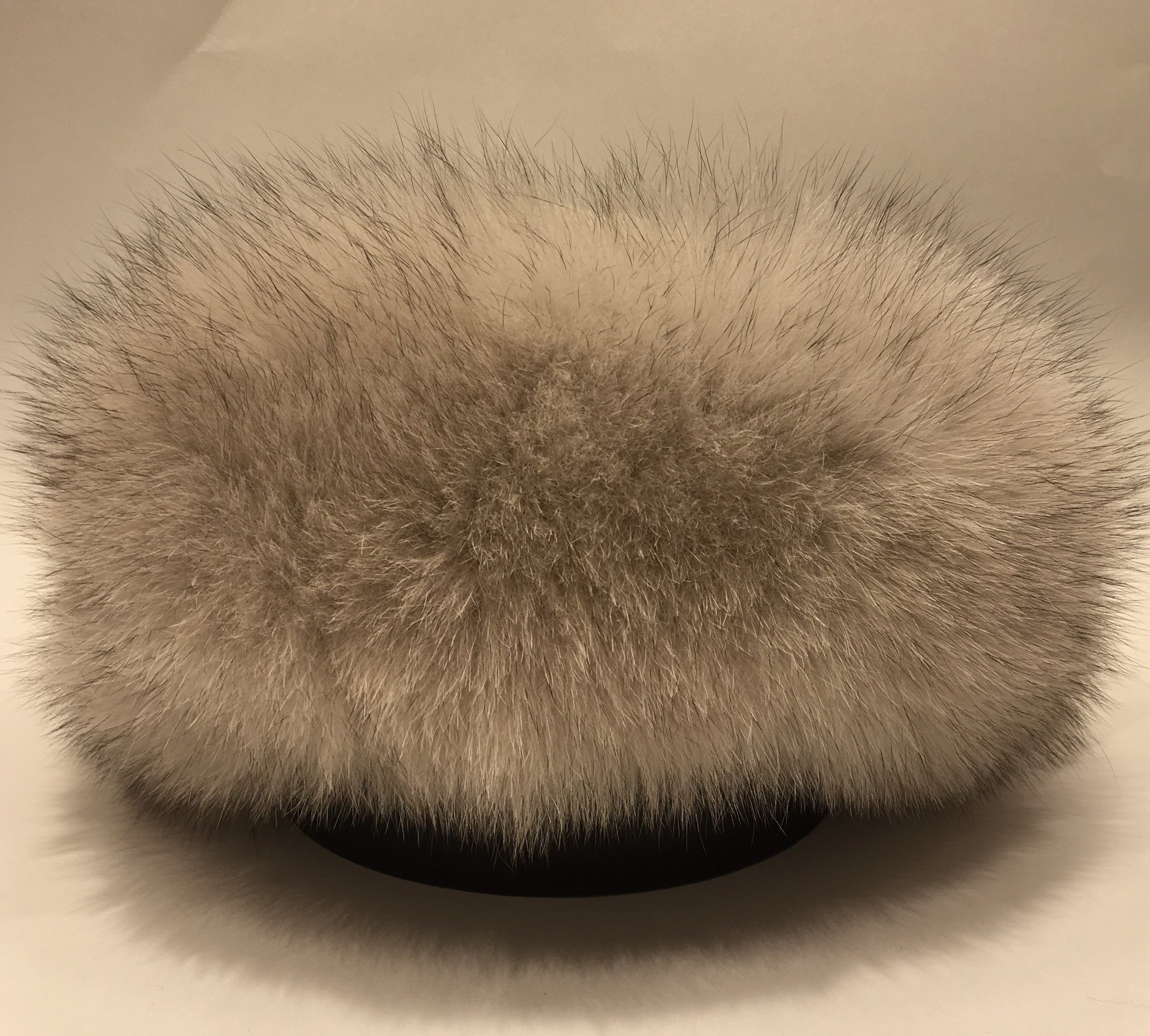 Cross Polar Fox Fur Round Hat with Leather Top