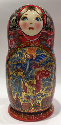 230 mm Ruslan and Ludmila Fairy tale scenes hand painted wooden Matryoshka doll 7 pcs (by A Studio)