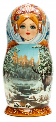 180 mm Moose in the Forest hand painted on Wooden Matryoshka doll 5 pcs (by Natalia Crafts)