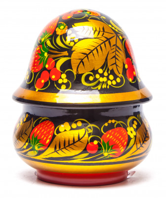75x60 mm Khokhloma hand painted wooden Salt Cellar (by Golden Khokhloma)