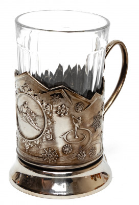 Skiing Nickel Plated Brass Tea Glass Holder with Faceted Glass (by Kolchugino)