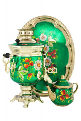 Berries Hand Painted Hand Painted Electric Samovar Kettle with Teapot and Tray