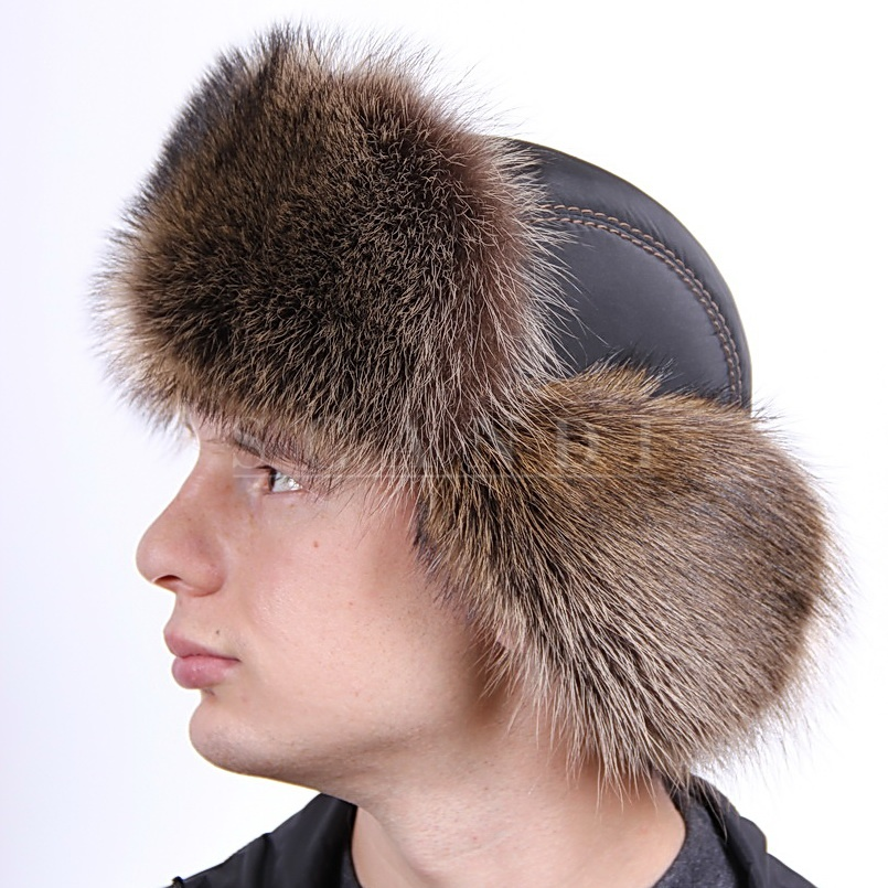 Brown Beige Raccoon Fur Hat with Ear flaps and fabric top (by Scandi Furs)