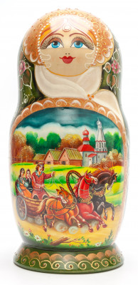 290 mm Russian Troika handpainted Wooden Matryoshka round Doll 10 pcs (by Valery Crafts)