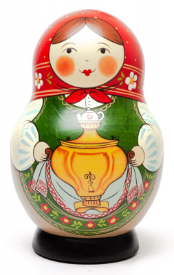 190 mm Maiden with the Samovar hand painted Traditional Russian Wooden Matryoshka round doll 10 pcs (by Sergey Malyutin)