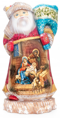 300 mm Nativity of Jesus Santa with a Christmas Bag Carved Wood Hand Painted Collectible Figurine  (by Natalia Nikitina Workshop)